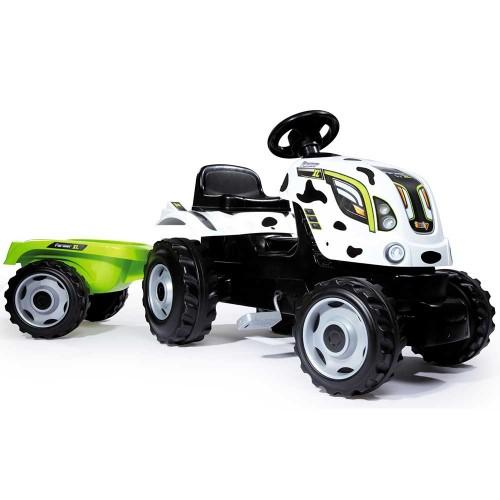 Tractor cu pedale si remorca Smoby Farmer XL alb negru - 2
