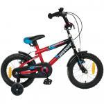 Bicicleta copii Bonanza 14 Hurricane G1401B cadru otel negru/rosu si roti ajutatoare