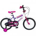 Bicicleta copii Bonanza 16 Bimba G1602B cadru otel fucsia/violet si roti ajutatoare