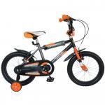 Bicicleta copii Bonanza 16 Bimbo G1601B cadru otel gri/portocaliu si roti ajutatoare