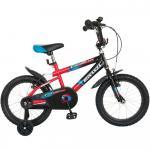 Bicicleta copii Bonanza 16 Hurricane G1601B cadru otel negru/rosu si roti ajutatoare