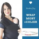 Wrap elastic Moby Bamboo Black + Colier Itzy Ritzy Sherbert