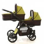Carucior gemeni Pj Stroller Lux 2 in 1 Khaki