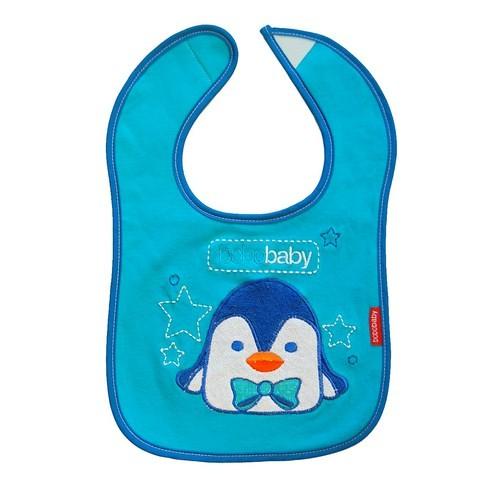 Baveta cu inchidere velcro BoboBaby Pinguin blue