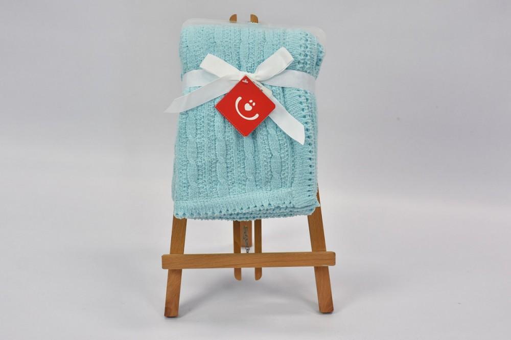 Patura tricotata chenille Bobobaby 76x102 cm Blue