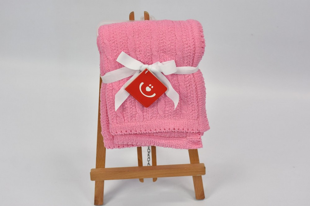 Patura tricotata chenille Bobobaby 76x102 cm Pink