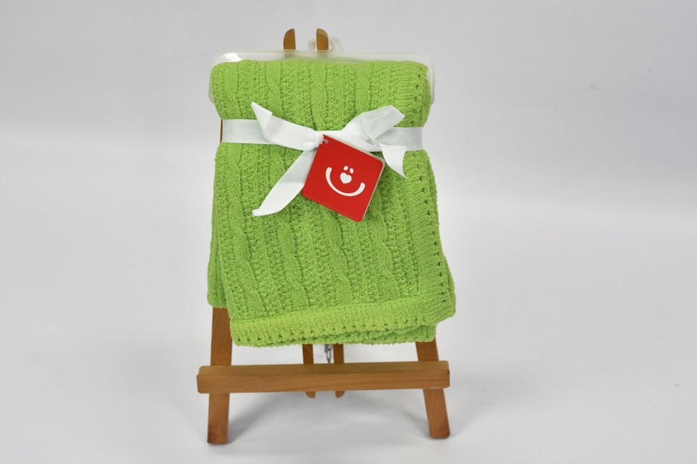 Patura tricotata chenille Bobobaby 76x102 cm Green