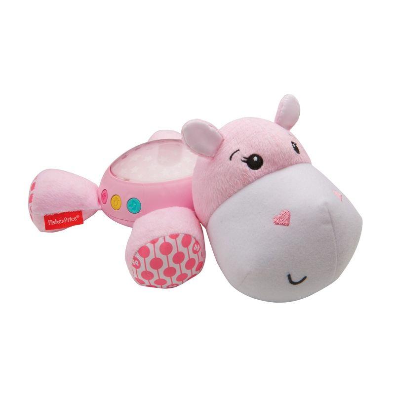 Lampa de veghe muzicala cu proiectie hipopotam roz