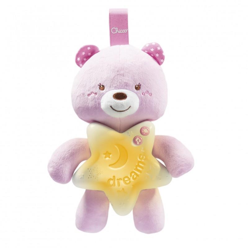 Jucarie Chicco pentru patut Ursuletul noapte buna roz 0 luni+
