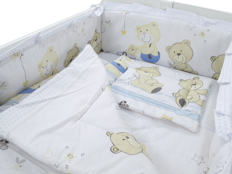 Lenjerie Teddy Play Blue M1 5 piese 120x60 cm imagine