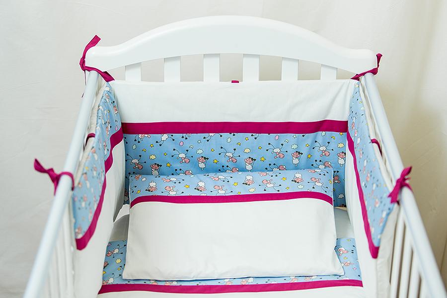 Lenjerie patut bebe cu 3 piese Blanite bleu cu visiniu 60 x 120 cm