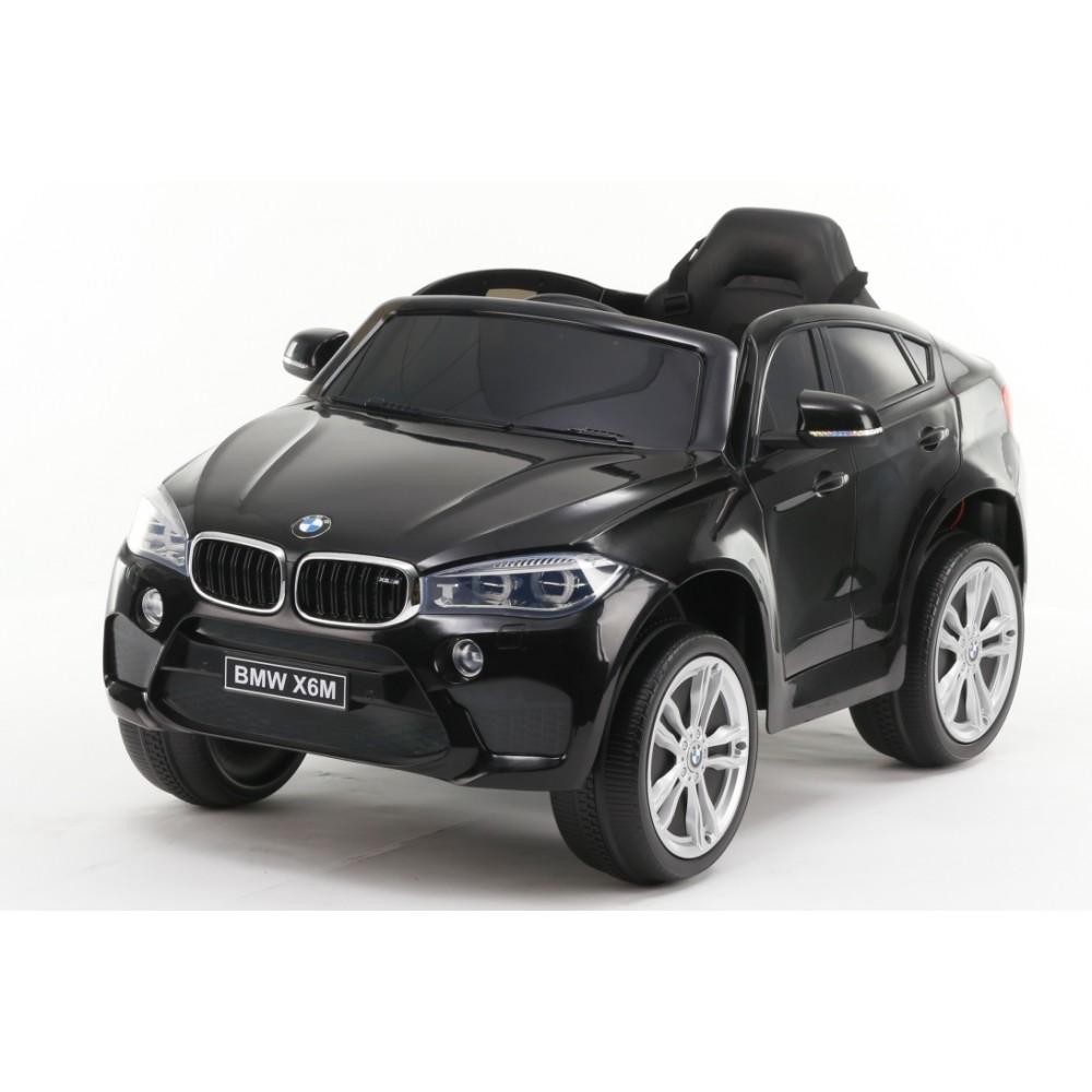 Masinuta electrica cu telecomanda si roti din cauciuc BMW X6M Black
