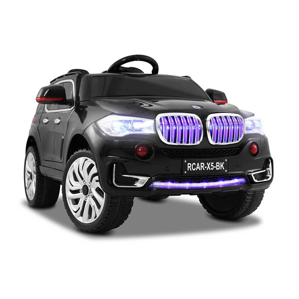 Masinuta electrica cu roti din cauciuc si scaun de piele M5X Black imagine