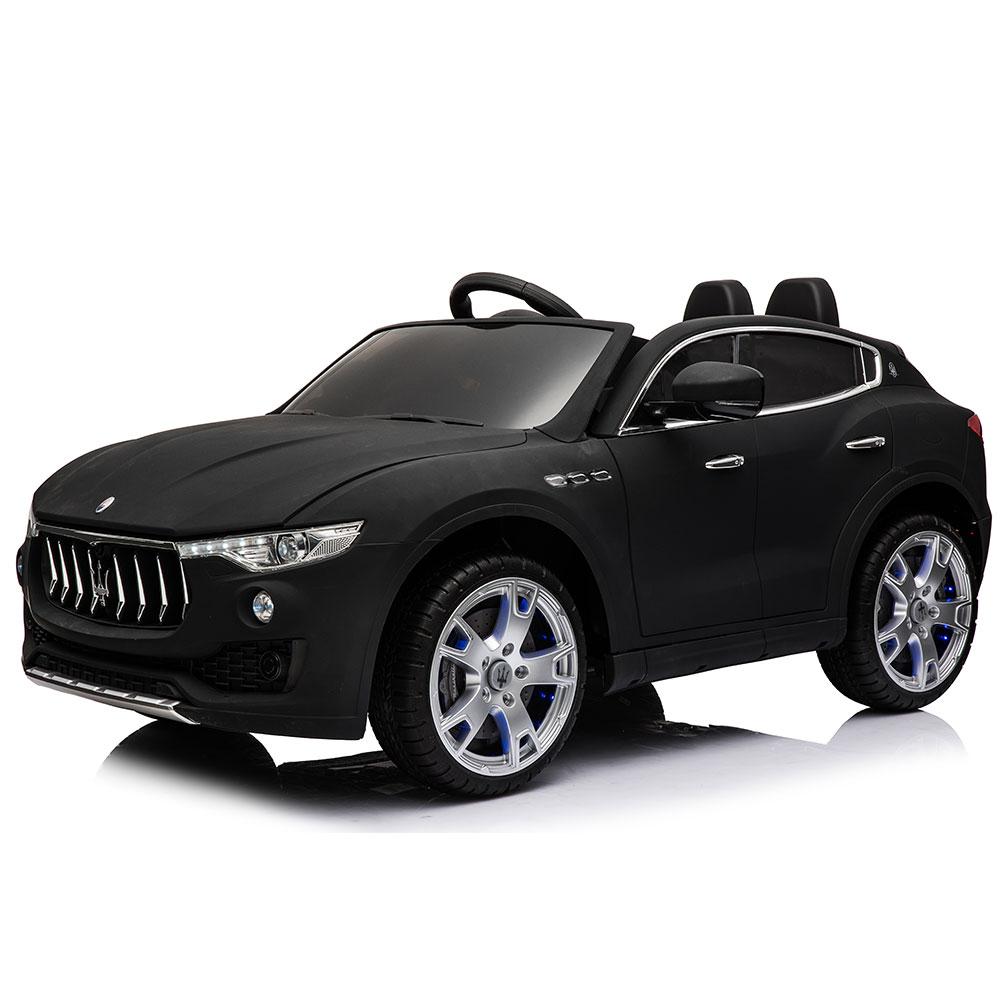 Masinuta electrica cu scaun de piele si roti de cauciuc Maserati Levante Black