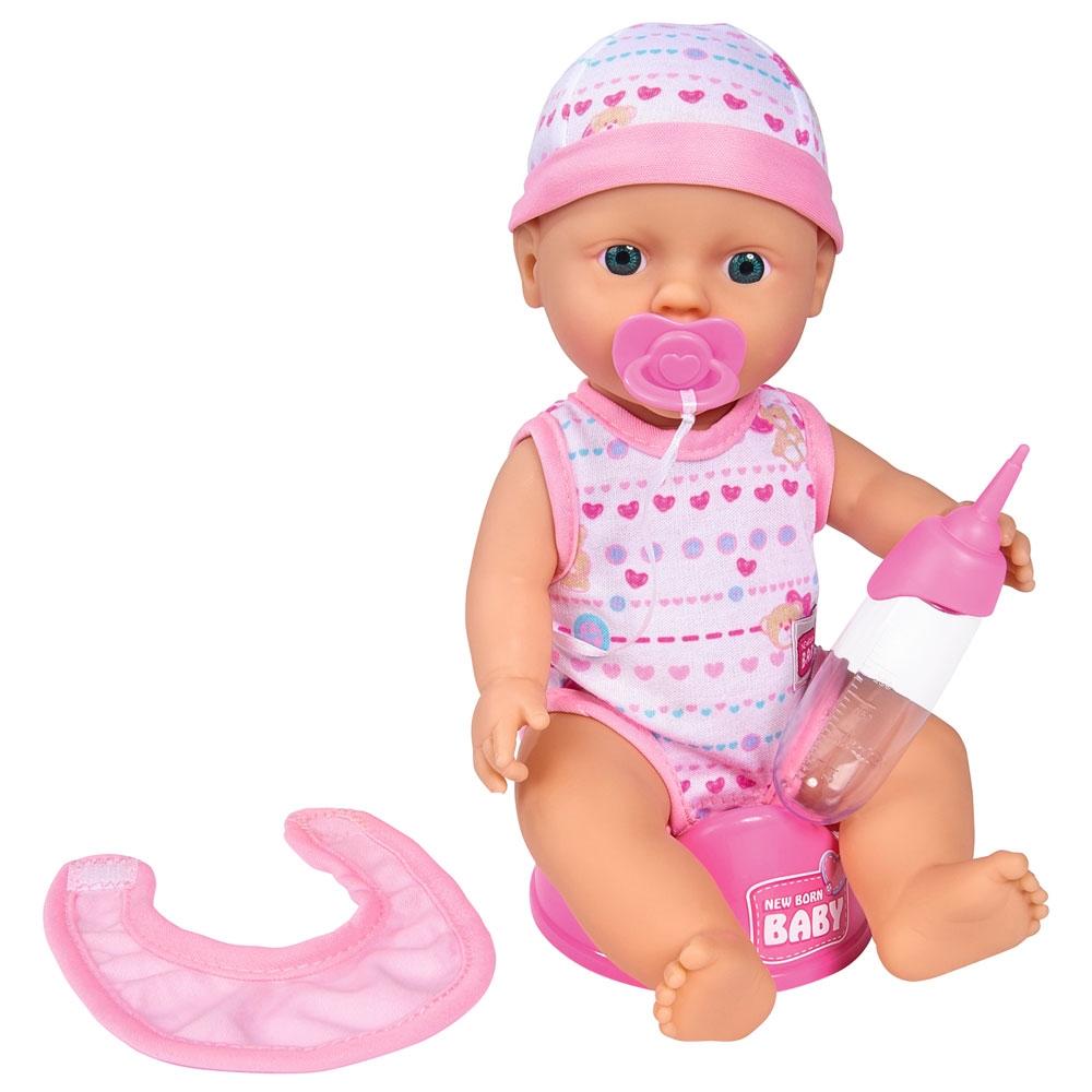 Papusa Simba New Born Baby Bebe Darling cu olita si bavetica roz deschis