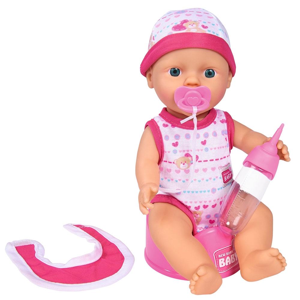 Papusa Simba New Born Baby Bebe Darling cu olita si bavetica roz inchis