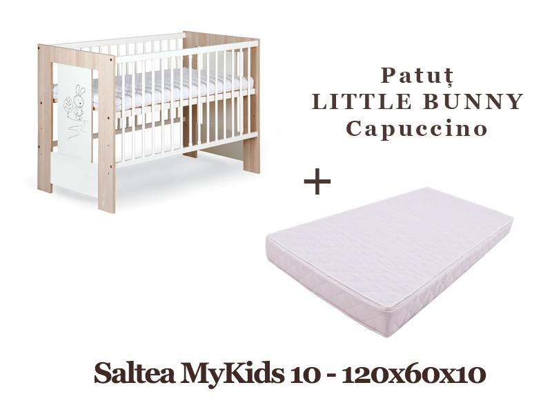Patut din lemn Klups Little Bunny Capuccino + Saltea 10