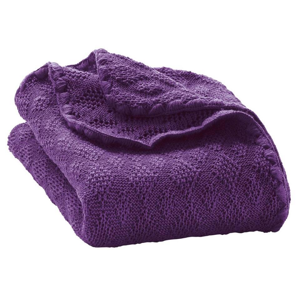 Paturica din lana merinos organica tricotata 100x80 cm Disana Plum