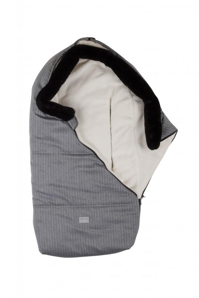 Sac de iarna 100 cm Pinstripe Light GreyBeige cu guler de blana 9635