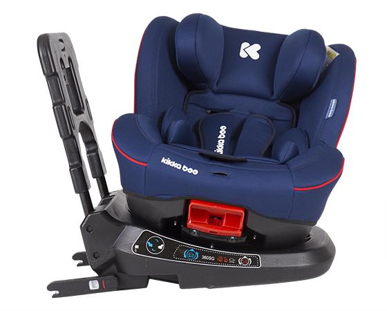 KikkaBoo Scaun auto rotativ cu isofix 0-25 kg Twister Blue