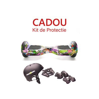 Scooter Electric Hoverboard Freewheel Junior Graffiti Mov + Cadou Kit de Protectie