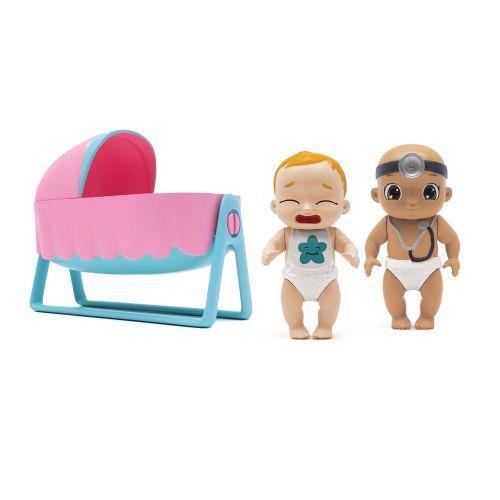 Set de Joaca Baby Secrets cu cadita balansoar si 3 figurine bebelus