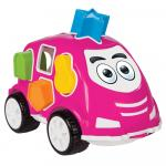 Masinuta cu forme de sortat Smart Shape Sorter Car Pink