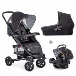 Set Carucior 3 in 1 Malibu 4 Trio Black Silver