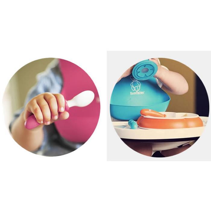 2 Seturi hranire farfurie lingurita si furculita pentru bebe Orange Turquoise