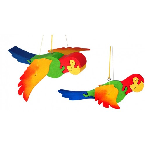 Jucarie Fauna Papagal saltaret din lemn