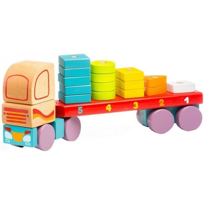 Jucarie din lemn Cubika Camion cu forme geometrice 19 piese
