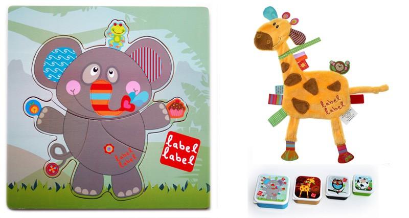 Pachet 2 Label Label minipaturica puzzle si 4 cutii sandwich Produsul 1 elefant si girafa