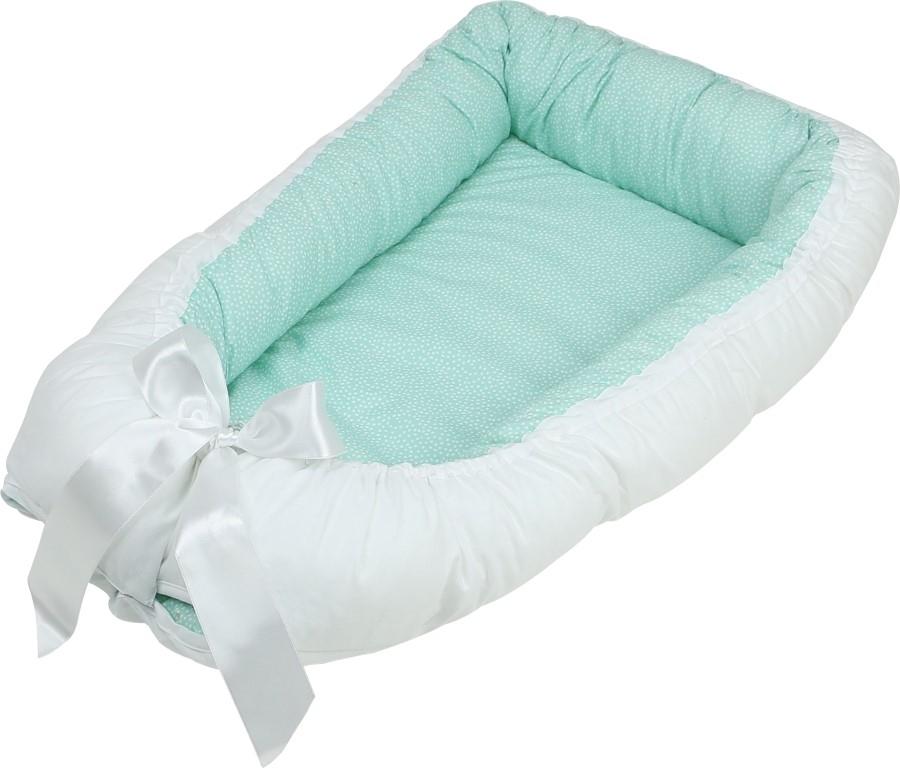 Baby Nest cu 2 fete verde cu alb