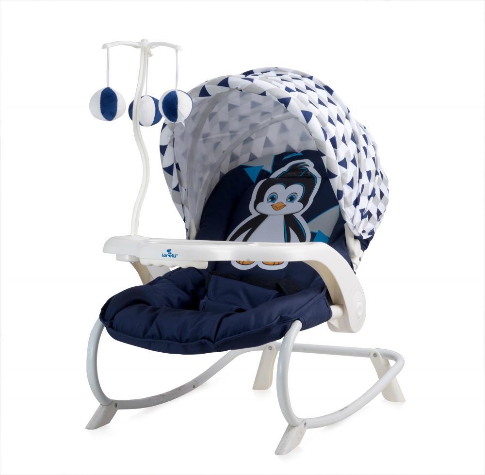 Fotoliu balansoar Dream Time cu masuta si carusel Blue White Pinguin din categoria Camera copilului de la LORELLI