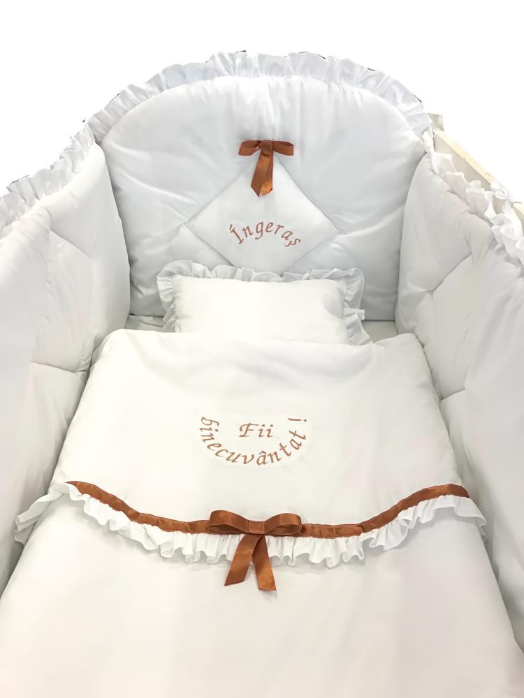 Lenjerie de pat bebelusi brodata Fii binecuvantat ingeras 140x70 cm alba