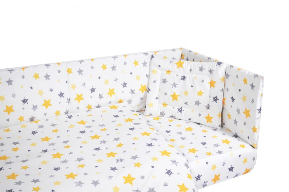 Set lenjerie patut cu 5 piese Yellow and Grey Stars White imagine