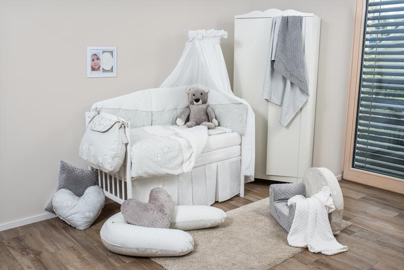 Set de pat pentru bebelusi Teddy Dream Minky White 6 piese