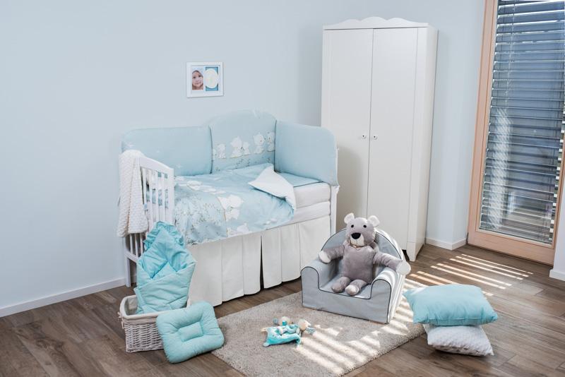 Set de pat pentru bebelusi Blue Teddy Dream 6 piese