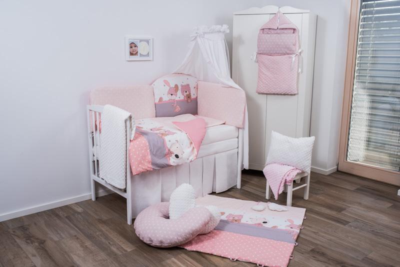 Set de pat pentru bebelusi Pink Bunny 3 piese