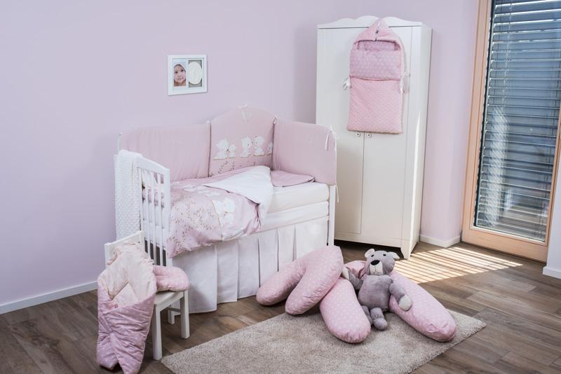 Set de pat pentru bebelusi Pink Teddy Dream 6 piese