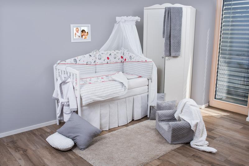 Set de pat pentru bebelusi Red Grey Elephant 6 piese