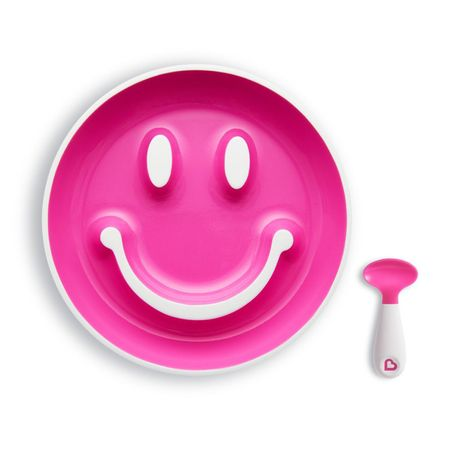 Set farfurie cu ventuza si lingurita 9+ luni roz Munchkin Smilen Scoop