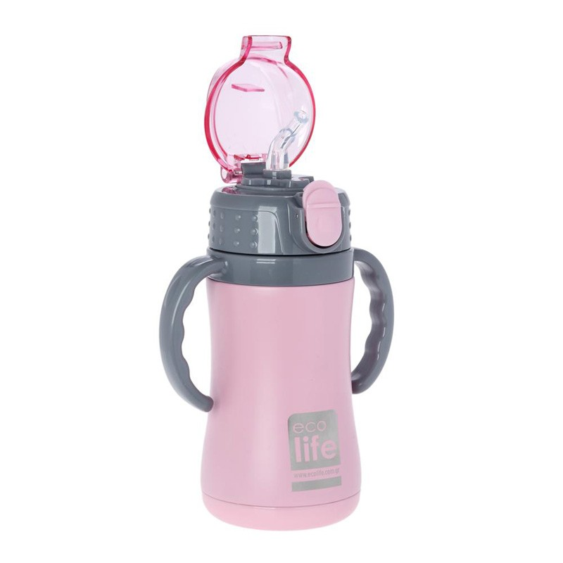 Termos copii cu manere 300ml culoare roz imagine