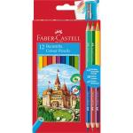 Creioane Colorate 12+3 Culori si Ascutitoare Faber-Castell 0