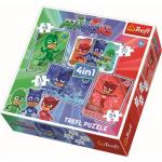Puzzle Trefl 4in1 eroi in pijamale