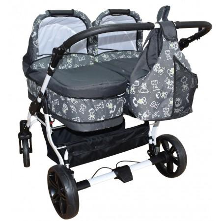 Carucior gemeni 2 in 1 Grey PJ Stroller