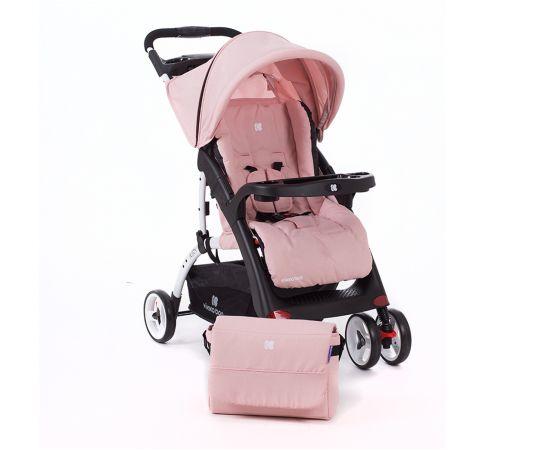 Carucior cu husa picioare si geanta mamici Airy Pink Melange