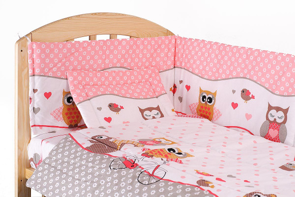 Lenjerie patut cu 7 piese Happy Owls PinkGrey 051