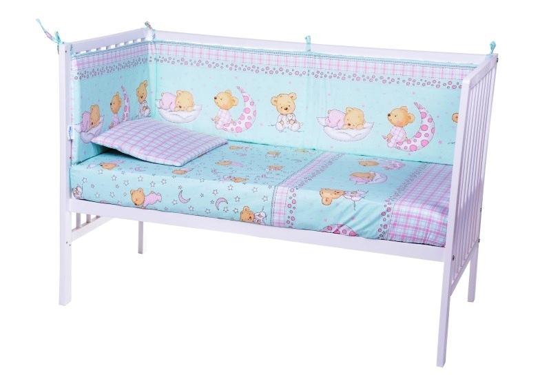 Lenjerie patut cu 7 piese Sleepy Little Bear Turquoise 018