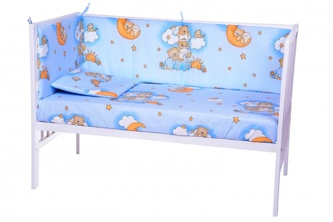 Lenjerie patut cu 7 piese Sleepy Teddy Bear Blue 006